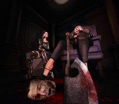 The Beheading (La_Hoiisen) Tags: secondlife second life maitreya catwa medieval headless head blood axe sword black goth gothic poses scene white heels boots piercings