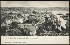 Postkort fra Agder (Avtrykket) Tags: bolighus båt hus kirketårn postkort sjø uthus arendal austagder norway nor