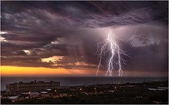 Fremantle sunset lightning (beninfreo) Tags: indianocean boom electric electricity colour stormchaser thunder bolt decisivemoment 1740mm powerstation canon coogee perth australia wa westernaustralia fremantle weather sunset storm lightning