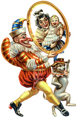 FOT93588 (s.graggaber) Tags: victorian embossed scrapdiecut depicts punch holding mirror which reflects his wife baby judy an english puppet show presented miniature stage tall collapsible booth traditionally covered with striped canvas ephemera grotesque hooknosed humpbacked buffoon commedia dellarte punchinello marionette theatrical entertainment slapstick comedy eternal clown glove
