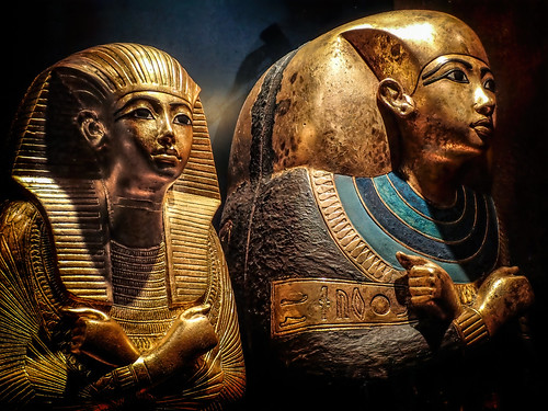 Nested gilded coffins containing some of King Tutankhamun's keepsakes 18th dynasty New Kingdom Egypt