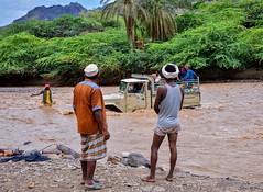 Mid Stream (Rod Waddington) Tags: middle east yemen yemeni river crossing water vehicle toyota 4wd trees mountains
