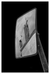 Reflecting on the past (spencerrushton) Tags: spencerrushton spencer rushton canon canonlens canonl canon5dmkiii 5dmkiii 5dmk3 24105mm canon24105mmlf4 zoomlens zoom london londonuk londoncity light londonnight londonphotowalk mirror street londonstreet streetphotography beautiful blackandwhite black bw monochrome white roadmirror mittor