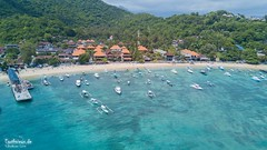 Padang Bai - Bali (Stefan Beckhusen) Tags: padangbai bali indonesia aerial aerialview aerialshot droneshot beach sea ocean coast coastline ships boats water color sunny day travel tourism holidays landscape seascape beautiful recreation relaxation watersports fun chillout