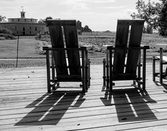 Shaker Chairs in the Morning Sun (davetherrienphoto) Tags: religion furniture bw barn shadow communal celibacy chair shaker genderequality massachusetts pacifism cow farm hancock