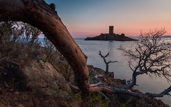 Black Island (R94) (Darblanc ( http://darblanc.com )) Tags: canoneos7d hills nature ocean sea shores autumn fall colour stackedimages sunrise sunset clear clouds wind church france frenchalps provence var saintraphël fortdudramont ile canon eos7d monument pinetrees