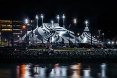 the big top is up (pbo31) Tags: sanfrancisco california nikon d810 color night city november 2018 boury pbo31 southbeach cirquedusoleil volta tent circus bigtop reflection missionbay