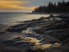 Sunset At Stony Point - North Shore Lake Superior (j-rye) Tags: sonyalpha sonya7rm2 ilce7rm2 mirrorless sunset lakesuperior minnesota water rock trees shore clouds landscape