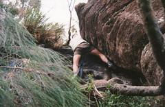 Tricky climb up Mt Lindesay, 1993 (NettyA) Tags: 1990s 1993 australia mtbarneynationalpark mtlindesay qld bushwalk bushwalker climbing rock scannedprint summit queensland scenicrim sunshinecoastbushwalkingclub