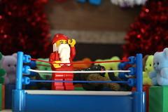 Santa Triumphs Again! - Bijou Planks 359/365 (MayorPaprika) Tags: mini figs figure paprihaven pvc miniature smallscale figurine diorama toy story scene custom bricks plastic vinyl theater bijouplanks canoneosrebelt6i macro efs60mmf28macrousm santa claus teddy bear wrestling ring