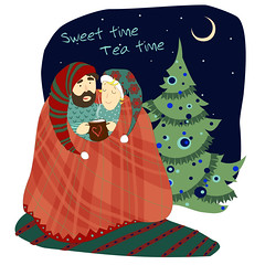 Tea time illustration for the design of the booklet, card (heliga3333) Tags: anniversary cartoon coffee couple cup cute date dating doodle drink friends green happy lady love men relationship relaxation retro romantic sitting christmas art beautiful beauty colorful design drawn human illustration night blanket christmastree