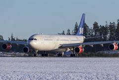 LN-RKP Arlanda 2019 (martindjupenstrom) Tags: lnrkp airbus airbusa340300 sas scandinavianairlines arlanda airport winter plane jet aircraft airplane takeoff sk945 heavy