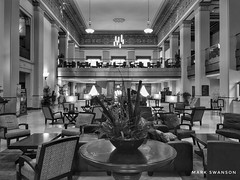 Alamo National Bank Lobby (mswan777) Tags: lobby building interior indoor column chair chandelier hotel downtown city cityscape travel historic plant apple iphoneography iphone mobile san antonio texas monochrome black white ansel
