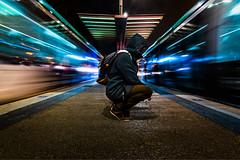 Misteri a la ciutat (Ramon InMar) Tags: urban night train longexposure barcelona trainstation blue timeblending movement nit nocturna noche
