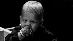 Everybody's Gotta Eat Sometime! (Alfred Grupstra) Tags: child people boys humanface cute lifestyle caucasianethnicity babiesandchildren portrait oneperson childhood baby happiness blackbackground cheerful blackandwhite blondhair conceptsandideas smiling toddler