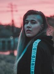 María. (MarcosCousseau) Tags: retrato portrait sunset atardecer girl babe hair blue bluehair hairblue