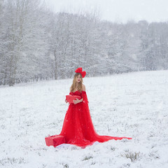 The Christmas gift (AstridBht) Tags: astridbht canon canon60d snow winter landscape nature natural light naturallight girl woman women model modele squareformat dress dresses red christmas gift holidays fineart fairytale fairytales fairy magic unreal conceptual forest tree