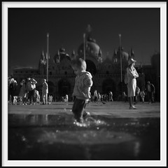 piazza san marco (Andrew C Wallace) Tags: piazzasanmarco äcqua alta venice italy venezia ir infrared tiltshift blackandwhite bw thephotontrap olympusomdem5mk2 microfourthirds m43 splash puddle palabra squareformat