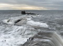 St Monans (Simon Wootton) Tags: red waves bigsea splash water sea coast pier protect harbour