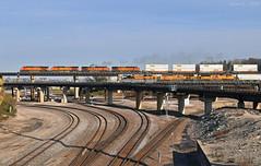 "BNSF and UP Trains in Kansas City, MO (""Righteous"" Grant G.) Tags: bnsf railway railroad up union pacific drw rio grande heritage unit emd ge power kansas city missouri intermodal manifest bridge high line flyover"