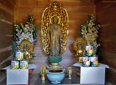 Japan: Miyajima, Daisho-in pineapple Buddha (Henk Binnendijk) Tags: daishointemple miyajimaisland hatsukaichi hiroshima japan buddha monk statue shrine pineapple offerings dole ananas