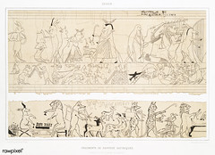 Fragments of satirical papyrus from Histoire de l'art égyptien (1878) by Émile Prisse d'Avennes (1807-1879). Digitally enhanced by rawpixel. (Free Public Domain Illustrations by rawpixel) Tags: otherkeywords anillustrationoftheegyptian ancient ancientegyptian ancientegyptianart antique archaeological archeology architecture art carving cc0 depictionsofanimals design designing drawing dynasty egypt egyptian egyptiankingdom egyptology empire fragment gods handdrawn histoiredelartégyptien historical history illustration mythology old oldfashioned outlines outlinesfromtheantique papyriandostraca papyrus pattern pharao psd romans satirical sepia sketch story symbol traditional vintage worship émileprissedavennes
