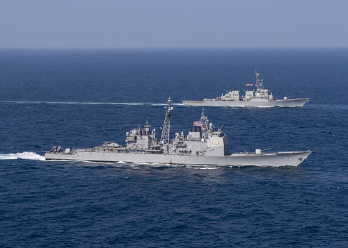 USS Mobile Bay and USS Decatur underway