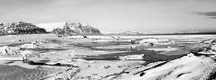 Winterstimmung am Jökulsárlón (Panasonikon) Tags: panasonikon island iceland winter küstenlinie coastline jökulsárlón bw panorama schnee snow gletschersee sw powershota75 canon