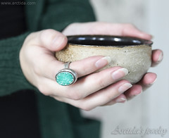 Mint druzy ring Sterling silver and mint green druzy Quartz ring - Lindelle (Arctida) Tags: jewelry jewellery druzy ring sterling silver engagement textured pattern nature branch twig woodland grain tree bark wiccan pagan entwined gemstone statement bohemian ooak boho chic simple viking ancient mid century tribal line artwork artisan shop designer city europe handmade handcrafted scandinavian sweden eco friendly elven elvish fantasy organic stuff rustic heavy piece everyday apparel wear high shine shopping luxury collection big large vintage massive carved fashion classic look style ritual hands bowl mint green emerald
