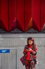 Paddington Central (The Green Album) Tags: candid street phone social media text communication burberry matching colours art installation paddington central london fujifilm xt2