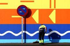 Cleanser (HWHawerkamp) Tags: spain stcruzdeteneriffe teneriffe sign broom man work working worker arrow arrows forbidden clean cleaning color colors colorful colour colourful colours wave waves street