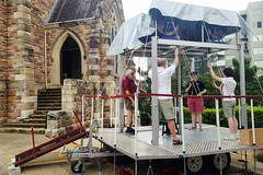 2018. St Andrew's Bellringers demonstrate bellringing near the church entrance. (Love in a little black diary) Tags: brisbane anglicanchurch standrewsanglicanchurchsouthbrisbane southbrisbane historicbuilding heritagebuilding building queensland queenslandheritageregister