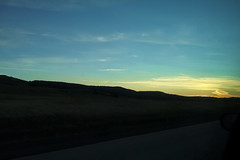 Cross Country (Elzyy) Tags: nature landscape sunset silhouette clouds farmland farm blue orange yellow weather country freeway highway road roadtrip travel trees vacation washington