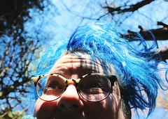 Sky twins (MadMadelyne) Tags: blue bluesky bluehair trees sky smile silly hopeful