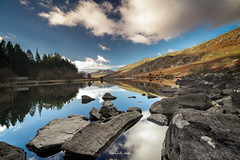 Mountain Reflections (Mark Palombella Hart) Tags: mountain nature landscape beautiful clouds trees scenic tourism wales autumn photography photographer photooftheday potd photo mountains hills rivers streams landscapephotography lake rocks reflection