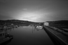 Harbor at Strunjan Nature Reserve (lumpy79) Tags: strunjan nature reserharbor ondu 6x9 pinhole f133 ilford delta 400 harbor