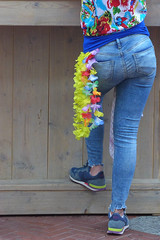 Eyecatcher (TablinumCarlson) Tags: europa europe niederlande nederland eindhoven netherlands north brabant spaceport sissyboy shop architektur architecture leica dlux 6 woman frau dame lady girl colourful street streetphotography jeans back eyecatcher farbenfroh flowers