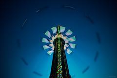 Merry-Go-Round - Prater, Vienna (Sebastian Bayer) Tags: nacht attraktion technik metall dynamik blauestunde karussell blau kettenkarussell spas himmel abend bewegung prater langzeitbelichtung wien