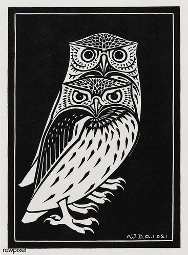 Two owls (1921) by Julie de Graag (1877-1924). Original from The Rijksmuseum. Digitally enhanced by rawpixel.
