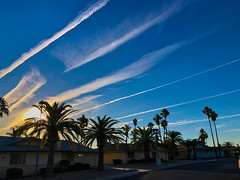 Excuse Me While I Kiss the Sky (oybay©) Tags: suncitywest sun city west arizona sunset sky skies contrails clouds color colors outdoor