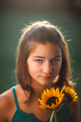 (Rebecca812) Tags: girl sunflowers summer sunlight backlit lensflare canon people portrait yellow green beauty tween outdoors rebeccanelson rebecca812 serious eyecontact flowers retro