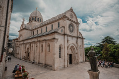 The Cathedral of St. James (dogslobber) Tags: yellow travel adventure explore wander wanderlust croatia europe balkan balkans the cathedral st james sibenik entryway entry decorative stonework