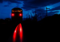 Shut Away (Wulfruna) Tags: 6e07 6m08 grid 56078 colas steel freight railway diesel locomotive bostonsteel uk england boston sleafordsidings semaphore signal lights evening