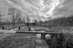 Deadlock (Tony Tooth) Tags: nikon d7100 sigma 1020mm bw blackandwhite monochrome hdr lock canal trentmersey churchlawton cheshire towpath