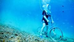 Radfahren im Aquarium (Sanseira) Tags: aquarium pula kroatien croatia radfahren unterwasser