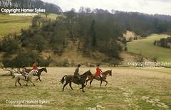 The Vale of White Horse Hunt, Wiltshire,  Master,   FOXHUNTING FOXHUNT UK (Homer Sykes) Tags: thevaleofwhitehorsehunt wiltshire master foxhunting hunt hunters fieldsport travelstockuk britain england uk british english upperclass horseback ridingout 1980s 80s countryside
