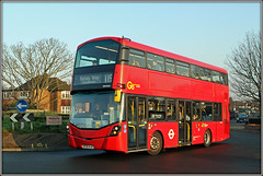 WHV63, Coney Hall (Jason 87030) Tags: 119 croydon bromley westwickham coneyhall london bus red volvo january 2019 canon eos metrobus whv63 transport doubledecker roundabout shuttersup light morning trees branch trunk naked bare season lighting color colour wheels route purleyway retail therapy