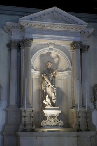 Statue de Saint Roch, salle basse (XVIe), Scuola Grande di San Rocco, sestiere de San Polo, Venise, Vénétie, Italie