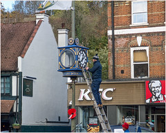 Day 316 Time thief (Dominic@Caterham) Tags: clock street buildings people kfc ladder flag windows shop