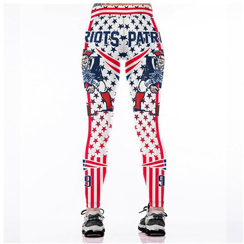 Women Leggings New England Patriots 99 Sport Print Running Active Sportswear High Waist Pant Sexy Slim Hip Fitness Jogger Gym